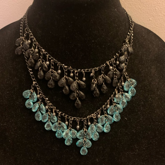 Jewelry - 2 necklaces - blue beads and black beads